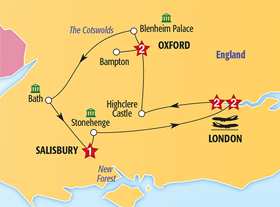 London and Southern England featuring Downton Abbey itinerary